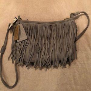 Grey, suede, fringe, crossbody bag. NWT